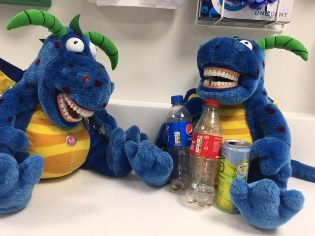 Brighter Smiles dragons with fizzy drinks